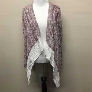 Pink Rose Heathered Open Front Cardigan Small